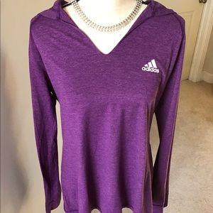 Adidas Athletic Purple Heather Hoodie Top XL